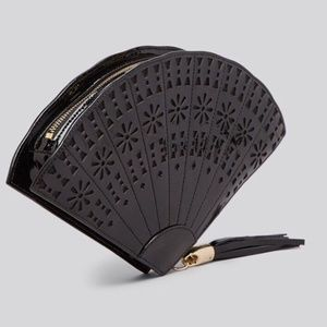 NWT Kate Spade 'Hello Shanghai' black fan clutch